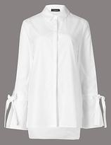 Autograph Pure Cotton Poplin Tie Sleeve Shirt