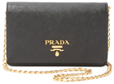 Prada Small Saffiano Leather Wallet On A Chain