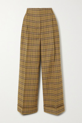 Acne Studios Checked Wool-blend Wide-leg Pants - Yellow