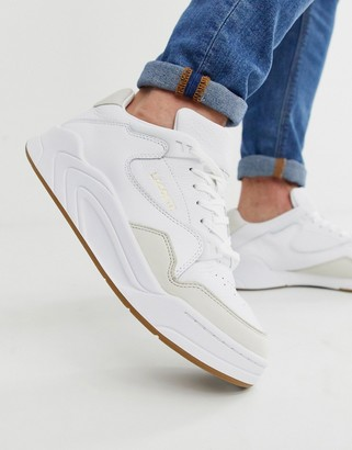 Lacoste Court Slam chunky trainers with gum sole in white