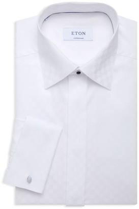 Eton Contemporary-Fit Satin Checkerboard Dress Shirt