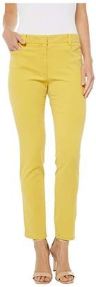Elliott Lauren Pigment Dye Fly Front Ankle Pants (Yellow) Women's Clothing