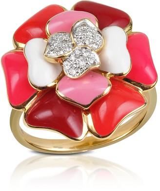Rosato Tearose - Diamond and 18K Gold Pink Small Flower Ring