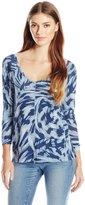 Calvin Klein Jeans Women's Printed 3/4 Sleeve Slub Tee