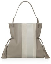 AllSaints Casey Tassel Leather and Suede Hobo