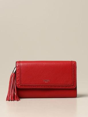 Lancel Shoulder Bag Wallet In Textured Leather With Tassel