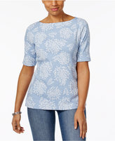 Karen Scott Elbow-Sleeve Boat-Neck Top, Only at Macy's
