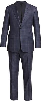 Giorgio Armani Wool Glen Check Plaid Single-Breasted Suit