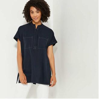Joe Fresh Women's Contrast Stitch Tunic, Navy (Size M)