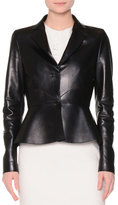 Agnona Two-Button Leather Peplum Jacket, Black