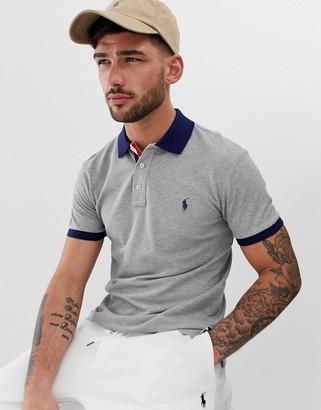 Polo Ralph Lauren player logo pique polo contrast collar/cuff custom regular fit in grey marl
