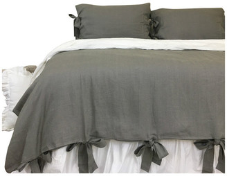 Superior Custom Linens Dark Grey Linen Duvet Cover With Bow Ties, Full/Queen 3-Piece Set