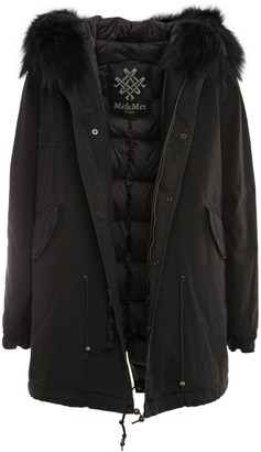 Mr & Mrs Italy Black Parka Midi With Padded Lining For Woman