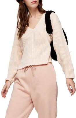 Topshop V-Neck Ribbed Sweater