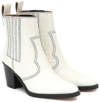 Ganni Western leather ankle boots