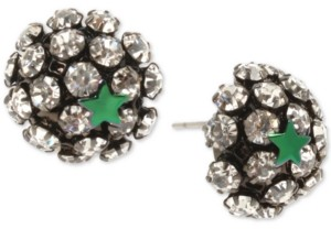 Betsey Johnson Two-Tone Star & Pave Fireball Stud Earrings