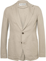 Officine Generale Cream Slim-Fit Cotton and Linen-Blend Blazer