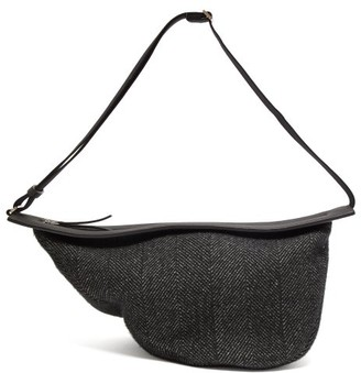 The Row Slouchy Banana Tweed Cross Body Bag - Womens - Black