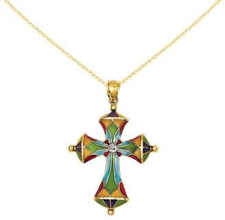 Primal Gold 14 Karat Yellow Gold Multi Color Acrylic Cross Pendant with 18-inch Cable chain