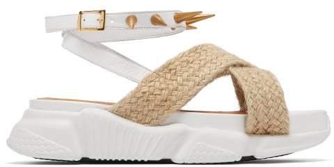 Marques Almeida Marques'almeida - Raffia Trimmed Studded Rubber Sole Sandals - Womens - White