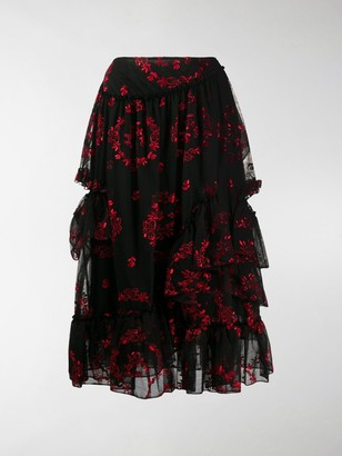 Simone Rocha Embroidered Floral Tiered Skirt