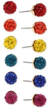 Betsey Johnson Gold-Tone 6-Pc. Set Multicolor Pave Fireball Stud Earrings