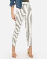 Express High Waisted Striped Ruffle Top Ankle Pant