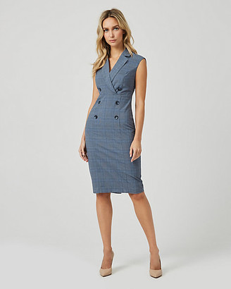 Le Château Check Print Double Breasted Blazer Dress