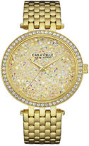 CARAVELLE, NEW YORK Caravelle New York Womens Crystal-Accent Gold-Tone Stainless Steel Bracelet Watch 44L184