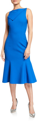 Oscar de la Renta Bateau-Neck Fold-over Flounce Dress