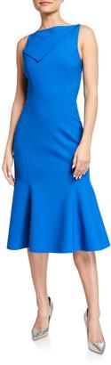Oscar de la Renta Bateau-Neck Fold-over Flounce Dress