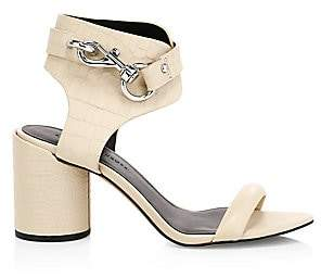 Rebecca Minkoff Women's Malina Chunky Buckle Leather Ankle Strap Sandals