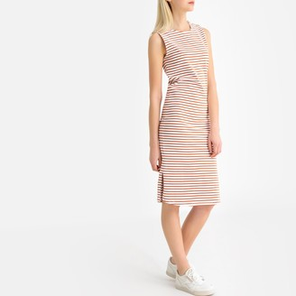 La Redoute Collections Cotton Metallic Striped Buttoned Tank Midi Dress