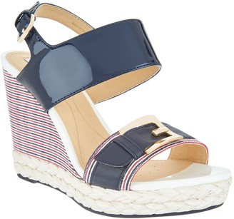 Geox Patent Leather Braided Wedges - Donna Janira