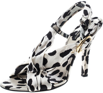 Dolce & Gabbana Monochrome Printed Pleated Silk Cross Strap Sandals Size 39