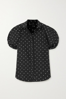 Lee Mathews Roxie Floral-print Silk-satin Blouse - Black