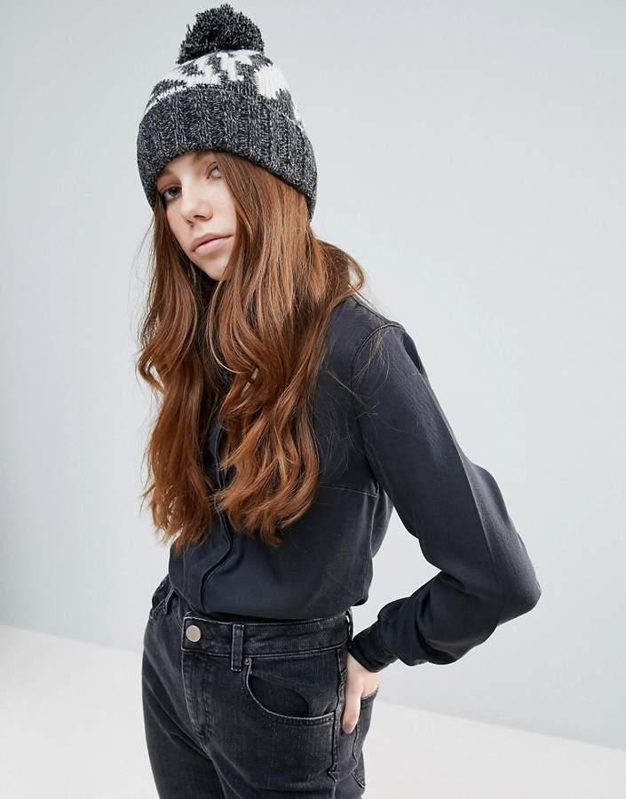 Eugenia Kim Genie By Logan Grey And Cream Zebra Print Hat With Knit Pom Pom