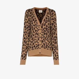 KHAITE Amelia leopard print cashmere cardigan