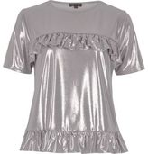 River Island Womens Silver metallic frill front T-shirt