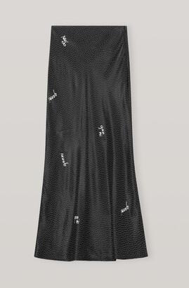 Ganni Viscose Satin Midi Skirt