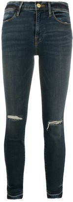 Frame Mid Rise Distressed Skinny Jeans