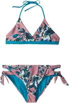 Splendid Littles Watercolor Floral Reversible Bralette Cut Out Side Pants Girl's Swimwear Sets