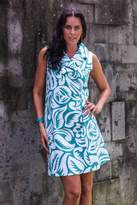 Silk Screen Cotton Shirtdress, 'Balinese Paradise'