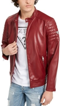 GUESS Men's Faux Leather Moto Bomber Jacket