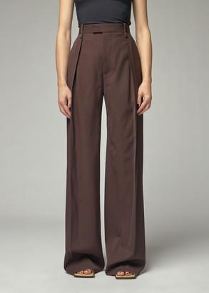 Bottega Veneta Women's Wide Front Pleated Pant in Coffee Size 38