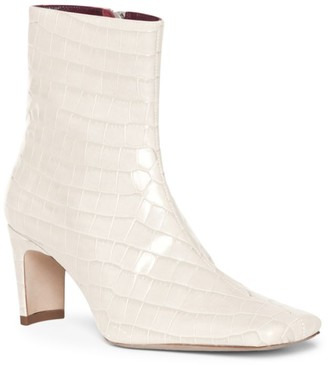 STAUD Eva Square-Toe Croc-Embossed Leather Ankle Boots