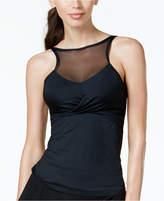 CoCo Reef Bra-Sized Underwire High-Neck Illusion Tankini Top Women's Swimsuit