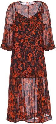 McQ Floral-print Silk-georgette Midi Dress