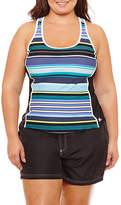 ZeroXposur Stripe Tankini Swimsuit Top-Plus