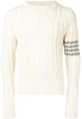 Thom Browne 4-bar Aran Cable Cashmere Pullover